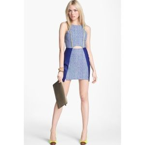 ASTR Cut Out Tweed Faux Leather Trim Dress